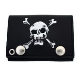 Embroidered skull and crossbones black leather wallet.
