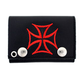 Red iron cross embroidered black leather wallet.