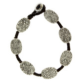 Oval Floral Design Silver Alloy Bracelet Wrist Jewelry Waxed Linen Wristband