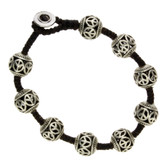 Round Peace Sign Design Silver Alloy Bracelet Wrist Jewelry Waxed Linen Wristband