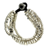 6 Strand Silver Beaded Alloy Bracelet Wrist Jewelry Waxed Linen Wristband