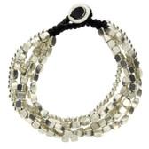Multi Shaped 5 Strand Silver Beaded Alloy Bracelet Waxed Linen Wristband