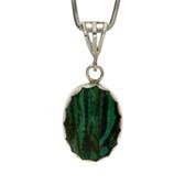 Malachite sterling silver pendant.