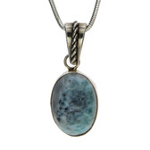 Small oval Larimar sterling silver pendant.