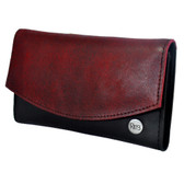 Red distressed leather wallet.