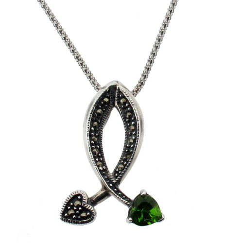 Sterling silver marcasite pendant vintage style with green cz heart marcasite pendant with green cz heart aloadofball Choice Image