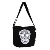 Black Large Messenger Bag White Day of the Dead Skull Canvas Purse