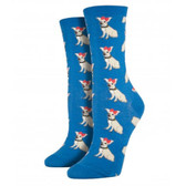 Socksmith Women's Crew Socks Chihuahua Puppy Dog Ocean Blue