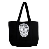 Large tote with white Day of the Dead skull.