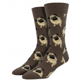 Men's Crew Socks Pug Puppy Dogs Brown