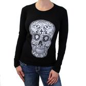Women's Day of the Dead Skull Black Long Sleeve Shirt