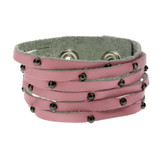 Pink leather bracelet with studs.