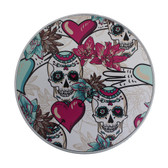 Day of the Dead skull round aluminum tin box.