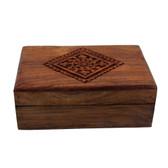 Floral design wood carved box.