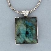 Square Labradorite Pendant Sterling Silver Blue Gray Handmade in the USA