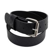 Embossed cross black leather belt.