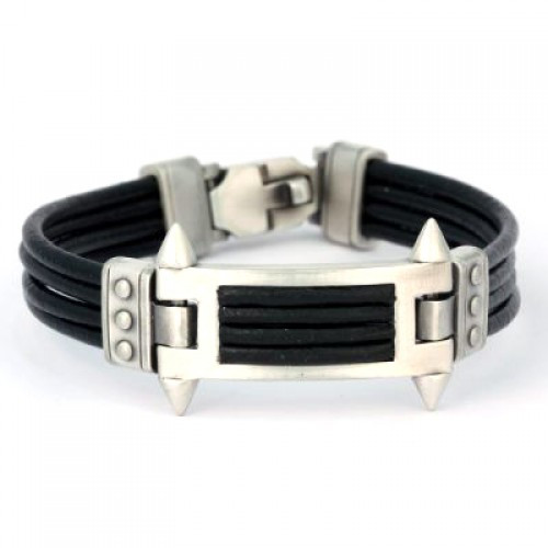 Bico leather pewter bracelet.