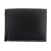 Bifold leather wallet with white stitching.