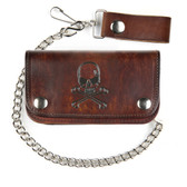 Skull and crossbones brown biker wallet.