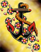 Tyler Bredeweg - Anchor & Flowers - Canvas Giclee