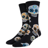 Men's Crew Socks Big Muertos Skull Black and White