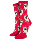 Women's Crew Socks Antler Pug Holiday Christmas Puppy Dog Red