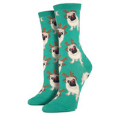 Women's Crew Socks Antler Pug Holiday Christmas Puppy Dog Green