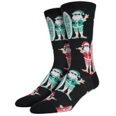 Men's Crew Socks Surf Santa Christmas Beach Holiday