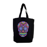 Black Tote Bag Beach Purse with Bright Colorful Day of the Dead Skull