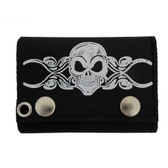 Skull & Tribal Design Men's Biker Black Leather Chain Wallet Trifold Billfold