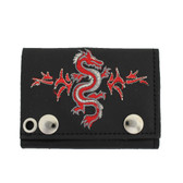 Embroidered Dragon Design Men's Biker Black Leather Chain Wallet Trifold Billfold