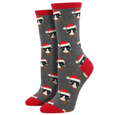 omen's Crew Socks Holiday Christmas Santa Cats