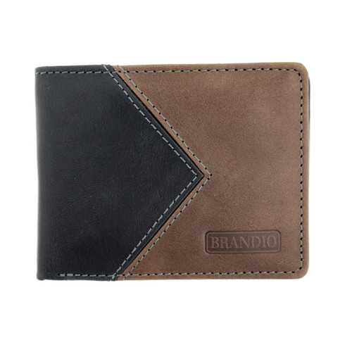 Black and Brown Men's Bi-Fold Genuine Leather Wallet Billfold
