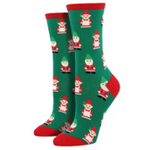 Women's Crew Socks Holiday Christmas Gnomes Green