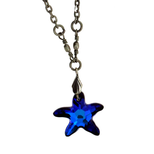 18 vintage antiqued style silver plated blue swarovski starfish 18 vintage antiqued style silver plated blue swarovski starfish pendant necklace aloadofball Image collections