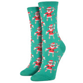 Women's Crew Socks Holiday Christmas Santa Monkey Green