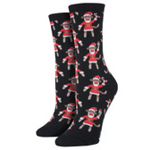 Women's Crew Socks Holiday Christmas Santa Monkey Black