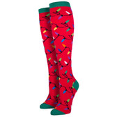 Women's Knee High Socks Holiday Christmas Lights Red