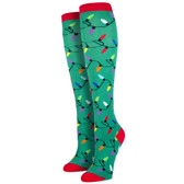 Women's Knee High Socks Holiday Christmas Lights Green