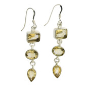 "2"" Long Yellow Faceted Citrine Dangle Earrings Sterling Silver"