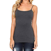 Women's Charcoal Grey Camisole Tank Top Shirt Cotton Blend Layering Tee