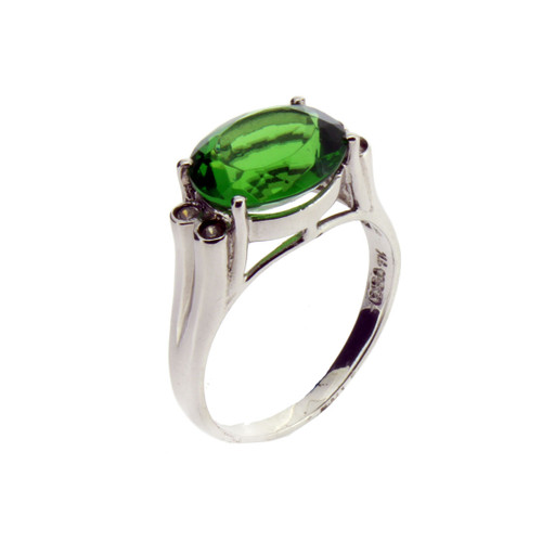 Oval Faceted Green Helenite and CZ Sterling Silver Ring