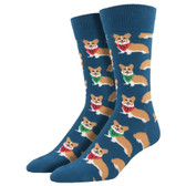 Men's Crew Socks Corgi Puppy Dog Steel Blue