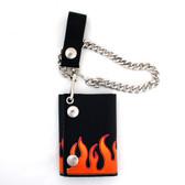 Men's Wallet Black Genuine Leather Chain BikerTrifold Orange Red Flames Billfold