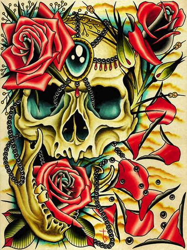 Petals by Tyler Bredeweg Canvas Giclee Skull and Roses