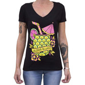 Aloha Always by Adi Women's Black Tee Shirt Tropical Hawaiian Pineapple Cocktail