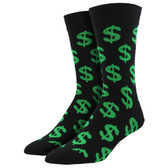 Men's Crew Socks Cha-Ching Green Dollar Signs Black