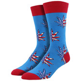 Men's Crew Socks Patriotic Plant American Flag Marijuana Pot Leaf Blue