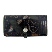 Women's leather wallet with abstract design.