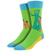 Men's Crew Socks Gumby and Pokey Clay Animation Characters Lime Green